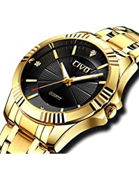 CIVO Mens Golden Watches with Stainless Steel Band Luxury Business Waterproof Wrist Watch for Men Elegant Casual Dress Simple Design Analogue Quartz Watches with Black Dial