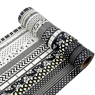AUFODARA 12pcs Black and White Washi Masking Tape Collage DIY (Mustern AFDR01)