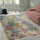 Designer Wohnzimmer Teppich Marokkanisches Muster Hochwertig Bunte Farben, Grösse:80x150 cm