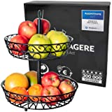 Chefarone frutero de 2 pisos - Cesta de frutas metálica para mostrador y organizador cocina – Fruteros de cocina negro estilo
