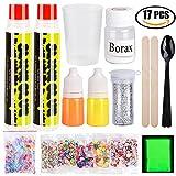 Vidillo Schleim-Kit, 17 Pack DIY Slime Kit Kinder Spielzeug Nicht giftige Schleim weichen Clay Kits Spielzeug für Mädchen Kinder Geschenk,Slime Spielzeug mit Glüh Pulver;Europäische Zertifikate(B)