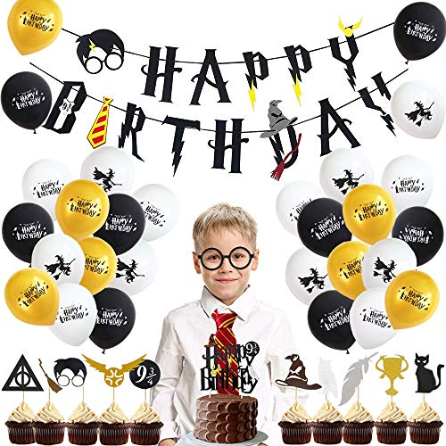 Specool halloween wizard palloncini decorazioni a tema per buon compleanno banner decorazioni di compleanno feste magiche per feste di compleanno per bambini ragazzi ragazze