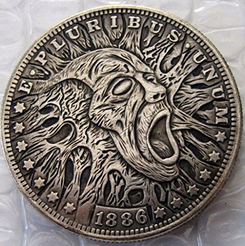Bespoke Souvenirs Rare Antique USA United States 1886 Morgan Dollar Skull Zombie Silver Color Coin Seltene Münze -