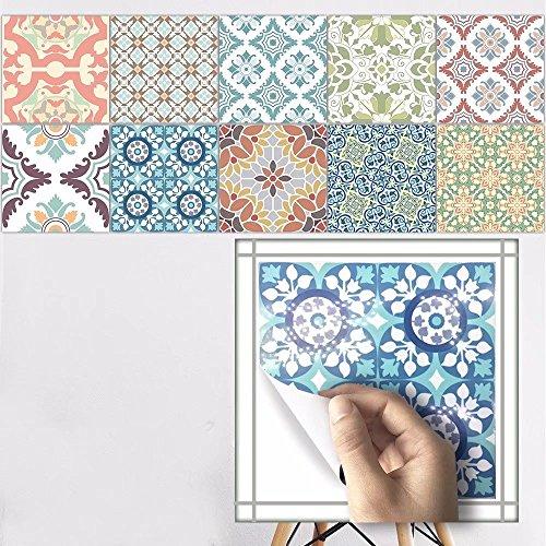 Frolahouse 10 Stück Mediterrane Europäische Vintage Stil Dekorative Fliesen  Aufkleber Peel U0026 Stick Vinyl Adhesive Tiles