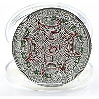 Rivalty (TM) placcato argento, motivo maya Prophecy calendario Commemorative Coin, collezione, colore: oro - Calendario Maya