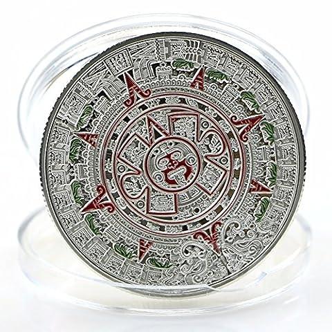 citipod (TM) plaqué argent Prophétie Aztec Maya calendrier or pièce de monnaie collection