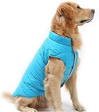 TFENG Hundemantel Hundejacke für Hunde Welpen, Gepolstert Puffer Umkehrbares Design Weste Regenmantel