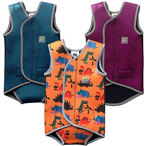Swim Cosy Traje de neopreno para niños 0-3 años Baby/Toddler Wetsuit Vest with UPF50 - Neoprene Wrap around design for Boys / Girls 0-3 years (Orange Dinosaurs, MEDIUM 6-18 meses)