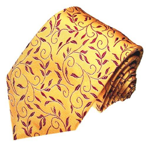 Lorenzo Cana - Luxus Herren Designer Krawatte aus 100% Seide - Orange Gelb Braun Floral Ranken - 42030