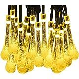 YOEEKU 6M Guirlande Lumineuses Solaire d'extérieur, 30 LEDs en Forme de Goutte d'eau, Décoration pour Jardin Noël Mariage Partie Halloween(Blanc Chaud)