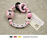 Baby Greifling Beißring geschlossen mit Namen | individuelles Holz Lernspielzeug als Geschenk zur Geburt & Taufe | Mädchen Motiv Bär in rosa