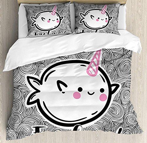 Narwal 3 Stück Bettwäsche Set Bettbezug Set, abstrakte Spirale Doodle Hintergrund mit Skizze Stil Arctic Ocean Säugetiere, 3 Stück Tröster/Qulit Cover Set mit 2 Kissenbezügen, Pink Schwarz Weiß - Pink Schwarz Tröster Set