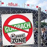 Gladbacher FREIE-Zone | XXL-Aufkleber 3er-Set | Schützt Köln, Düsseldorf & Fußball-Fans vor Gladbach infizierten | Einfach mehr Spaß im Alltag | Warnschild - Türschild - Öffnungszeitenschild