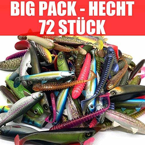 Jackson Gummifisch Kunstköder XL Set Profi - Hecht Angeln 12,5-18cm - 72 STÜCK