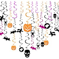 Aneco 34 Pieces Halloween Party Hanging Swirl Cards Ceiling Decorations Bats Spider Witches Skull for Haunted House Decoration Halloween Party Decorations