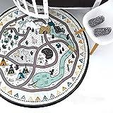 DIY Kinderteppiche,135 cm Babyspielmatten Runde, Leinwand Matten DIY Handwerk Dorf Graffiti Schwarz und Weiß Kinder Krabbeln Spielzeug Spielzeug Kind Matte