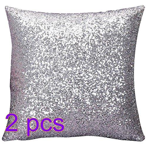 Wdoit federa alla moda con piccole scaglie luminose (solo su un lato) per divani di bar e locali, 40 cm x 40 cm, seta, 2pcs, 2pc40*40cm
