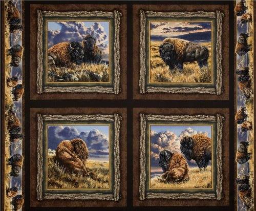 buffalos-cushion-panels-cotton-fabric-4-panels-wild-wings-bison-range