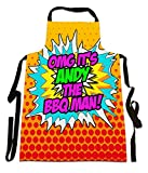 Fresh Publishing Ltd 'OMG It's Andy The BBQ Man!', Personalised Name, Humorous Comic Art Design, Canvas Apron, Size 25in x 35in approximately
