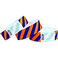 Bracelets d'identification Tyvek 19 mm, Rayé, 500 pièces, Orange-Bleu, Bracelets événementiels