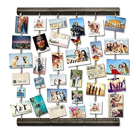 Love-KANKEI® Verwitterungsgrau Bilderrahmen Collage Fotorahmen Holzbilderrahmen in Wäscheleinenoptik mit 36 Holzklammern, Aktualisierte Version