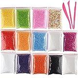 Kuuqa Micro polystyrène Perles Petite Balles mousse Slime Perles avec ensemble 3 outils Slime ajustement pour la création Slime Art DIY Craft, 0,08-0,4 cm Environ 50 000 Balles au total