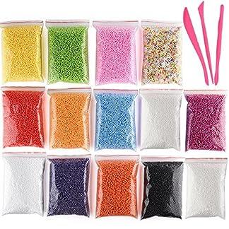 Kuuqa Bolas de espuma de poliestireno micro Bolas de espuma pequeña Bolas de limo con 3 herramientas de lodo aptas para la fabricación de baba Arte de bricolaje, 0.08-0.15 pulgadas Aproximadamente 500