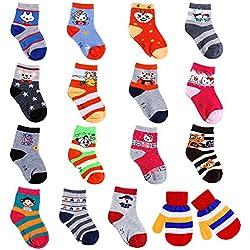 Faburo Pack de 15 Pares de Calcetines y Un par de guantes para Bebé Niños 1-3 Años