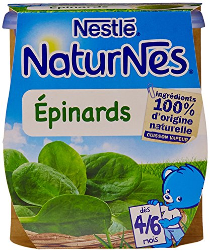 Nestlé Bébé Naturnes Epinards Purée de légumes dès 4/6 mois 2 x 130g - Lot de 6