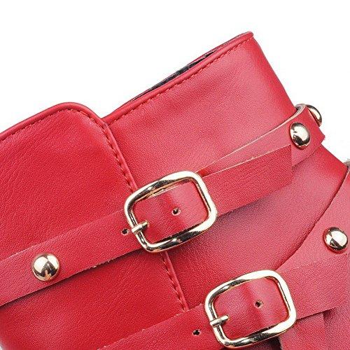 VogueZone009 Donna Scarpe A Punta Bassa Altezza Tacco Medio Puro Stivali con Rivetto Rosso