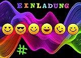 Emoji Smiley Einladungskarten für Kindergeburtstag im Set 10 Stück Geburtstags-Party für Jungen und Mädchen. Party Hashtag LOL