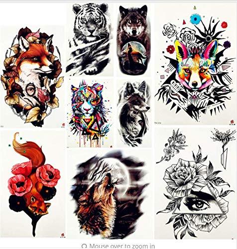 Tiger King Körper Arm Kunst Tattoo Aufkleber Flash Fox Retro Rose Oberschenkel Tattoo Temporäre Männer Brust Mond Wolf Falsche Tätowierung Weiblich