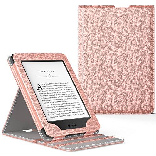 MoKo Kindle Paperwhite Hülle - Vertikal Flip Kunstleder Ständer Schutzhülle Smart Cover mit Auto Sleep/Wake, Rose Gold