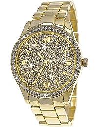 Edle designer Strass Damenuhr,Moderne Damen Armband Uhr in Gold D114