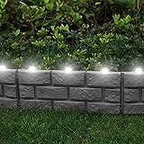 Parkland® recinzione per giardino istantanea effetto mattoni con luci solari LED - da martellare