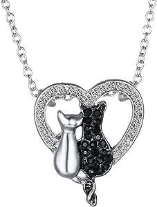 Feilok - Collana con ciondolo a forma di animale, a forma di gatto in bianco e nero, con ciondolo a forma di cuore, per amanti dei gatti e bambini