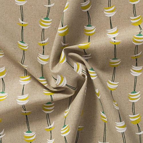 MIRABLAU DESIGN Stoffverkauf Baumwolle Canvas bedruckt mit grafischen Wellen und Halbmonden in weiß und gelb auf beigefarbenem Grund (4-233M), 0,5m
