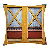 Rustic Throw Pillow Cushion Cover, Authentic Lumber Door of Urban House in Town Classic Featured Nostalgic Gate Print, D