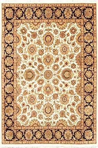 Arts of India Handgefertigt indisch Blumen Design Beige Wolle Handgeknüpft Orientalisch 8X10 Bereich Teppich (Wolle Bereich Teppiche 8x8)
