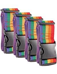 CLE DE TOUS - Paquete de 4pcs Correas para Equipaje Cinturón de Seguridad para Maleta Correas ajustables de nylon 190x5cm