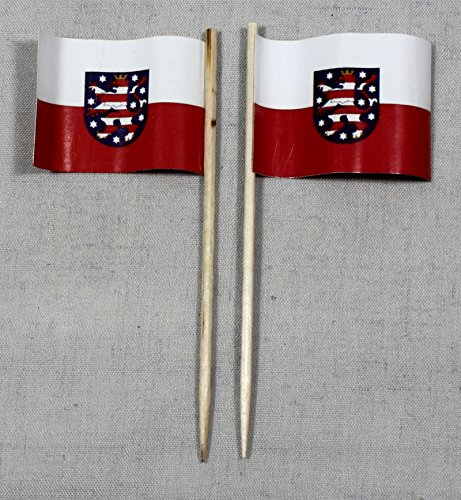 Party-Picker Flagge Thüringen Papierfähnchen in Profiqualität 50 Stück 8 cm Offsetdruck Riesenauswahl aus eigener Herstellung