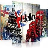 Feeby. Leinwandbild - 5 Teile - Bilder, Wand Bild, Wandbilder, Kunstdruck XXL, 5-Teilig, Typ B, 200x100 cm, LONDON, HALLO, INSCHRIFT, SYMBOLE, FLAGGE, ZELLE, MODERN