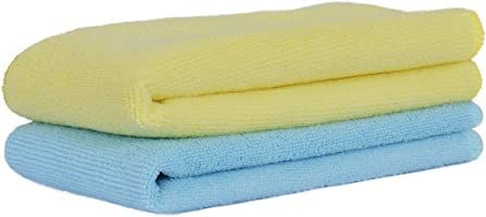 Amazon Brand - Solimo 2 Piece Microfibre Cleaning Cloth (40 cm X 40 cm, 350 GSM, Yellow and Blue)