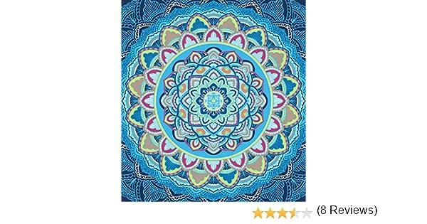 . Bleu SECANETA Par/éo de Plage g/éant pour Sol 100/% Coton 210 x 230 cm Mandala Double Extra Large