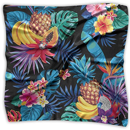 Wfispiy Tropical Fruits Palm Leaves Womens Personalized Soft Square Polyester Scarf Head Neck Multiuse Scarf/Headband/Handkerchief Block China Black Pearl