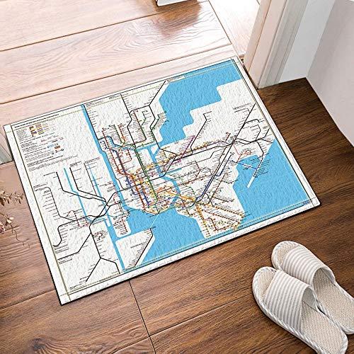 fdswdfg221 Karte Dekor New York City Subway Bad Teppiche rutschfeste Fußmatte Bodeneingänge Indoor Haustür Matte Kinder Badematte 60X40 cm Bad Zubehör (Bad-matten Kinder)