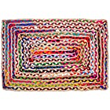 Umi by Amazon Cotton & Jute Multi Chindi Area Rug - Multicolor Hand Woven Braided Reversible Rug Rag, Colors May Vary (60 x 9