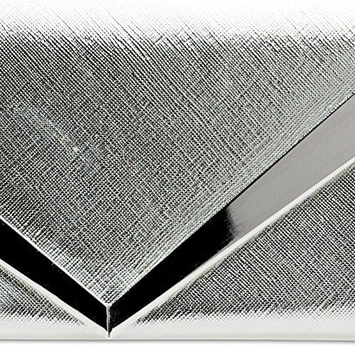 CASPAR TA368 Donna Pochette a Busta con Decorazione in Metallo e Catena Argento
