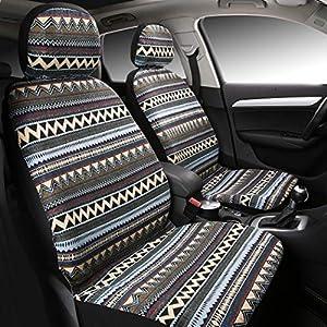 asientos: Juego completo de fundas para asientos de coche universales (Estilo bohemio) - 4...