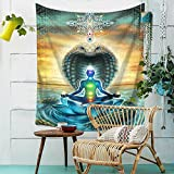Best Cotton Craft Picnic Blankets - Boho Psychedelic Yoga Buddha Statue Wall Hanging Floral Review